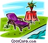 lawn chair beside a pool Vector Clipart image