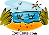 Vector Clipart image  of a people playing in the water at