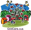 Vector Clip Art image  of a Ferris wheel at the amusement