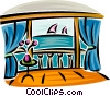Vector Clip Art graphic  of a ocean view from a balcony