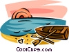 Vector Clip Art image  of a rowboat resting on the beach