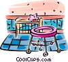 Vector Clip Art image  of a Baby's crib and walker