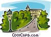 Vector Clip Art graphic  of a mansion