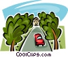 tress growing alongside the driveway Vector Clip Art graphic