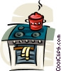 Vector Clip Art graphic  of a pot simmering on a stove
