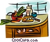 Vector Clipart picture  of a kitchen counter