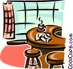 Vector Clipart image  of a kitchen counter wit stools
