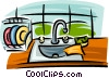 Vector Clipart image  of a kitchen sink with dishes