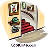 Vector Clipart illustration  of a telephone in a hall with