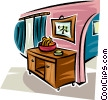 Vector Clipart graphic  of a curio cabinet