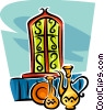 Vector Clip Art image  of a stained glass windows and vases