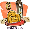 grandfather clock and a chair Vector Clip Art picture