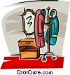 Vector Clip Art graphic  of a coat rack in the hall