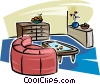 living room furniture Vector Clipart illustration