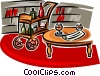 drink cart, coffee table located in the study Vector Clipart illustration