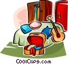 bedroom furniture and a guitar Vector Clipart image