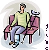 person with a broken leg sitting on a bench Vector Clipart image