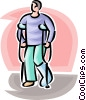 Vector Clipart picture  of a man with a broken leg and
