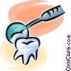 tooth and a dentist's mirror Vector Clipart picture