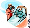 Vector Clipart illustration  of a woman visiting hospital