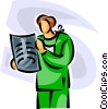 Vector Clipart graphic  of a doctor looking at an x-ray