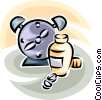 Vector Clip Art graphic  of an alarm clock and medicine