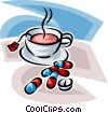 Vector Clip Art picture  of a Cup of tea and medicine