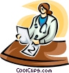 Vector Clip Art graphic  of a doctor writing a report