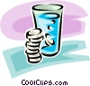 medicine and a glass of water Vector Clipart illustration