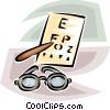 eye glasses and eye exam chart