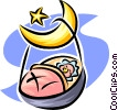 Vector Clipart picture  of a sleeping baby