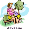 Vector Clipart illustration  of a pregnant woman with a young