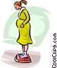 pregnant woman on a scale Vector Clip Art graphic