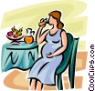 pregnant woman drinking juice Vector Clipart illustration