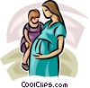 pregnant mother and young child Vector Clip Art picture