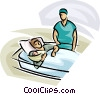 Vector Clip Art graphic  of a mother and newborn after birth