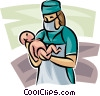 doctor with a newborn Vector Clipart picture