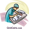 Vector Clipart graphic  of a doctor/nurse with a newborn