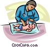 doctor looking at a newborn baby Vector Clipart illustration
