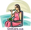 Vector Clip Art image  of a pregnant woman eating