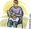 Vector Clip Art picture  of a father giving a baby a bottle