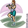 Vector Clip Art graphic  of a pregnant woman working out