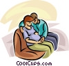 Vector Clipart graphic  of a pregnant couple sitting on a