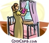 expecting mother working in the nursery Vector Clipart illustration