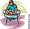 Vector Clip Art image  of a newborn baby having a bath