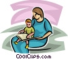 Vector Clip Art graphic  of a Pregnancy and Newborn Babies