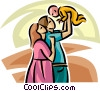 Family with new baby Vector Clipart graphic