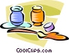 paints and a brush Vector Clipart illustration
