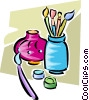 paintbrushes and  vase Vector Clip Art picture