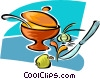 Vector Clip Art image  of a cooking pots